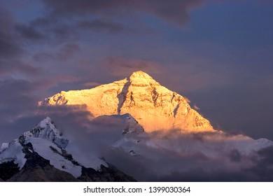 Mount Everest at sunset, Tibet, China