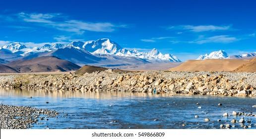 Mount Everest under sunlight, view from Tibet