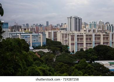 MOUNT FABER PARK, SINGAPORE, SEPTEMBER, 2016: overlook of Singapore city the top of Mount Faber Park at Singapore