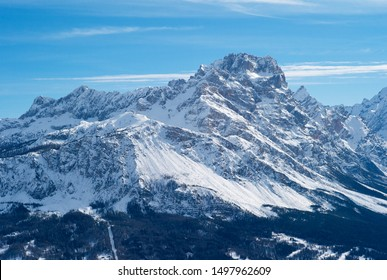 Mount Faloria in Cortina d Ampezzo, Snow Covered in Winter, Romantic Mountain Peaks in the World Famous Ski and Winter Sports Resort in Italy