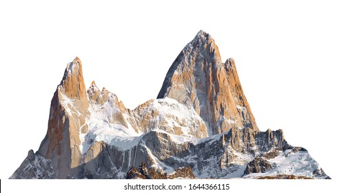 Mount Fitz Roy (also known as Cerro Chaltén, Cerro Fitz Roy, or Monte Fitz Roy) isolated on white background. It is a mountain in Patagonia, on the border between Argentina and Chile.
