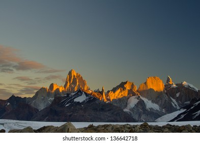 Mount Fitz Roy at sun set
