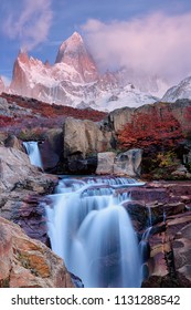 The Mount Fitz Roy and the waterfall at dawn. Los Glaciares National Park, Santa Cruz province, Andes, Patagonia, Argentina. South America