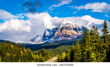 Mount Fitzwilliam, East on the Yellowhead Highway,  part of the Canadian Rockies. The lower half is dolomite. The upper half quartzite covered with lichen that gives it a very dark gray color