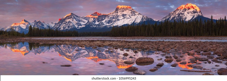 Mount Fryatt and Whirlpool Peak with the Athabasca River at sunrise, Jasper National Park, Alberta, Canada