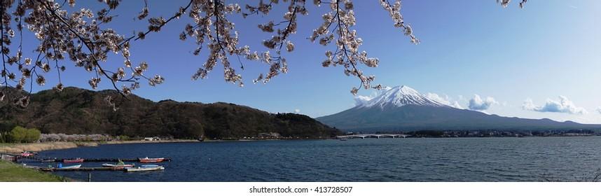 Mount Fuji and the 5 lakes - kawaguchi-ko in spring - panorama view # 1