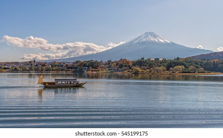 Mount Fuji with boat