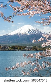 Mount Fuji with cherry blossom in spring season, japan