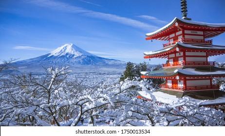 Mount Fuji and Chureito Pagoda during Winter - Yamanashi, Japan