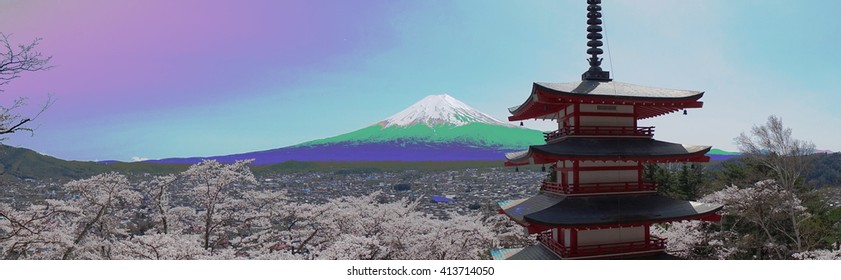 Mount Fuji with Chureito pagoda panorama view in spring #1