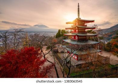 Mount Fuji and Chureito Pagoda at sunrise in autumn, Japan