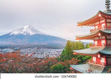 Mount Fuji and Chureito Pagoda at sunrise in autumn, Japan.