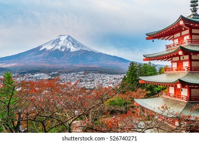 Mount Fuji And Chureito Pagoda At Sunrise In Autumn Japan