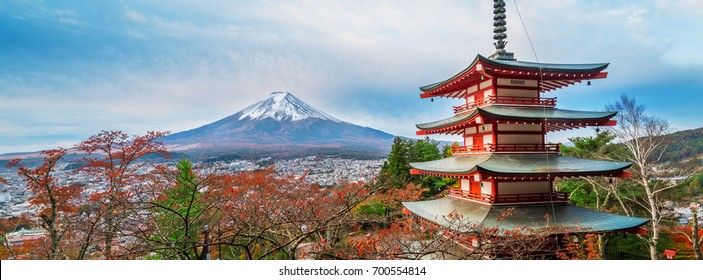 Mount Fuji and Chureito Pagoda at sunrise in autumn, Japan.