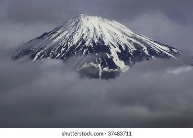 Mount Fuji enshrouded in clouds