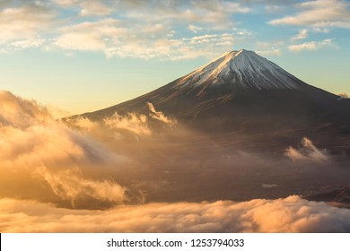 Mount Fuji and fog at sunrise at lake kawaguchi in autumn,Yamanashi,Japan.Fujisan located on Honshu Island, is the highest mountain in Japan.