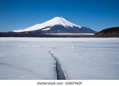 Mount Fuji and Frozen Lake Yamanaka