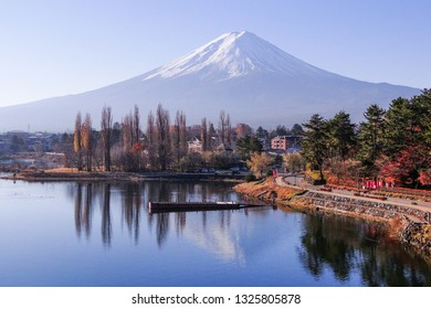 Mount Fuji - an iconic of Japan, with Lake Kawaguchi in sunny day.