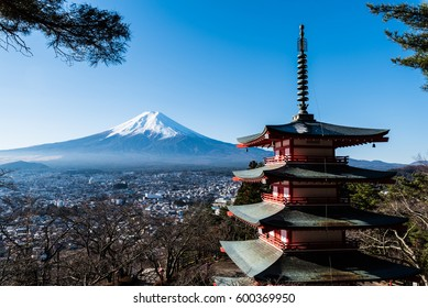 mount Fuji with japanese old temple