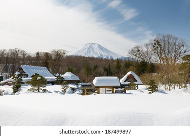 Mount Fuji at Kawaguchi Lake, after the heavy snow storms in the past 120 years in 19 February 2014