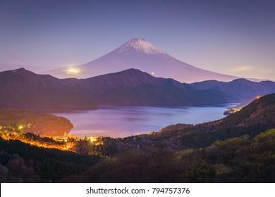 Mount Fuji and Lake ashi at sunrise in autumn