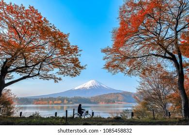 Mount fuji at Lake kawaguchiko with sunrise in the morning and Autumn colorful.