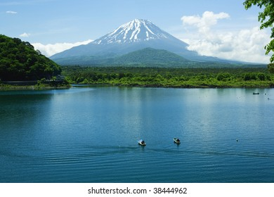 Mount Fuji and lake in spring