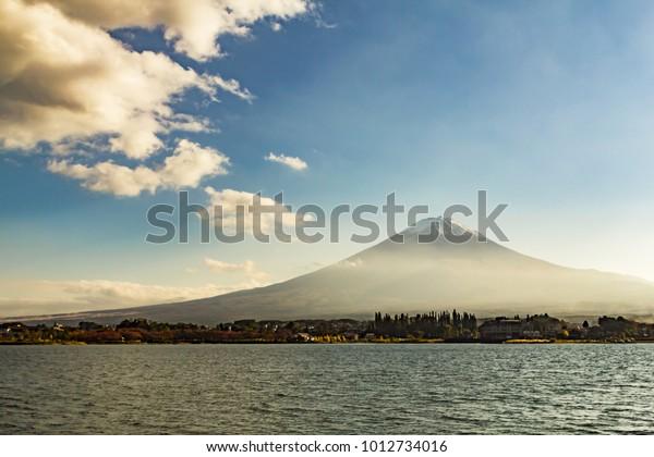 Mount Fuji in a low winter mist, Japan