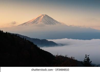 Mount Fuji with mist at sunrise, Japan