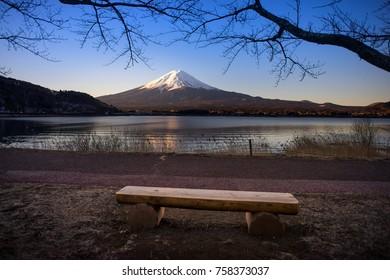 Mount Fuji in the morning at Lake Kawaguchiko