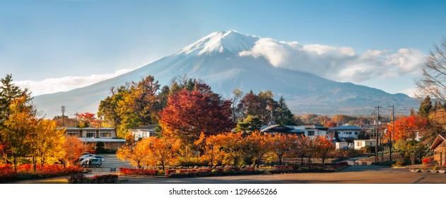 Mount Fuji Panoramic View in autumn from Fujikawaguchiko, a Japanese resort town in the northern foothills of Mount Fuji and a base for climbing the iconic volcano along the Yoshida Trail in Japan.