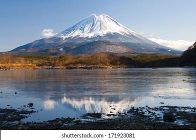 Mount Fuji Reflection on Lake Shojiko, Yamanashi, Japan