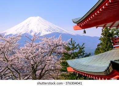 Mount Fuji and Sakura in Spring time