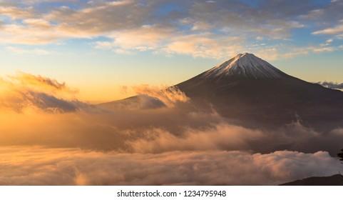 Mount Fuji and the sea clouds