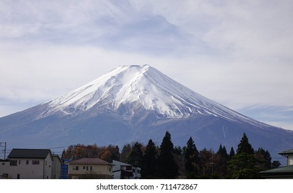 Mount Fuji at the sunny day in Japan. Mt Fuji considered one of Japan 3 sacred mountains and summit hikes remain a popular activity.