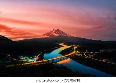 Mount Fuji and  sunrise in Japan