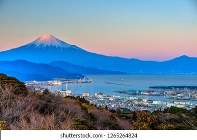 Mount Fuji and Suruga Bay seen from Nihondaira Plateau, Shizuoka, Japan