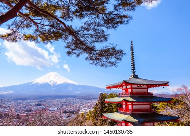 Mount Fuji view of beautiful landscape with chureito pagoda sunny day in clear blue sky natural background in japan