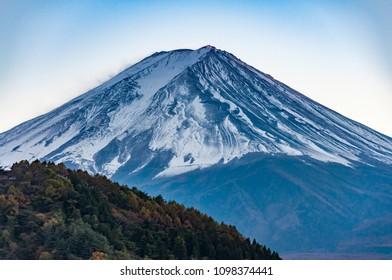 Mount Fuji view from Kawaguchiko lake in the evening.