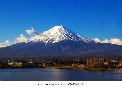 Mount Fuji view from Lake Kawaguchi, Yamanashi Prefecture, Japan