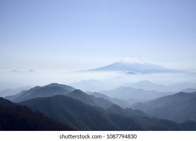 Mount Fuji, which is enveloped in a sea of clouds