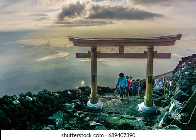 MOUNT FUJI, YAMANASHI, JAPAN - July 25, 2017 : Torii on top of Fuji mountain . Fuji is highest mountain in Japan at 3,776 m, symbol of Japan