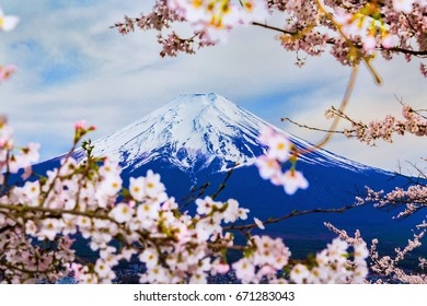 The Mount Fuji.Foreground is a cherry blossoms.The shooting location is Lake Kawaguchiko, Yamanashi prefecture Japan.