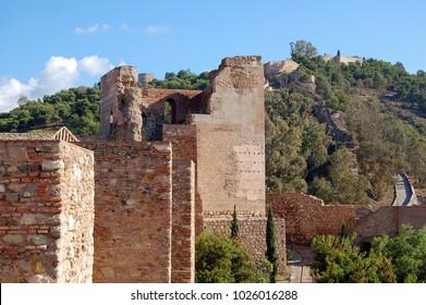 Mount Gibralfaro (Monte de Gibralfaro) photographed from the Alcazaba - Malaga, Andalusia, Spain