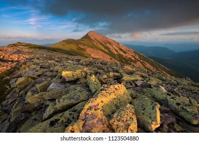 Mount Great Syvulya at the evening. Ukraninan Carpathians