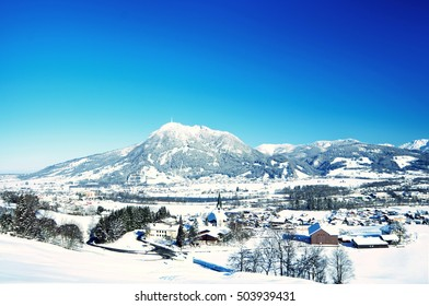 mount grunten in bavarian alps and the village sonthofen and Blaichach