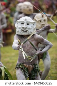 MOUNT HAGEN, PAPUA NEW GUINEA - AUGUST 15, 2018: Tribes at the Mt Hagen cultural show in Papua New Guinea. Historical festival of natives PNG in national clothes and traditional colorful makeup