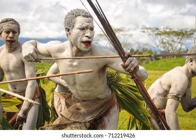MOUNT HAGEN, PAPUA NEW GUINEA - AUGUST 13, 2011:: Archers at the Mt Hagen cultural show in Papua New Guinea