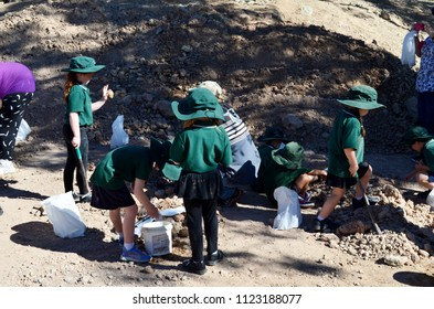 Mount Hay, Queensland, Australia, June 29th 2018, School children fossicking for gem stones