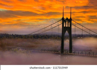 Mount Hood by St Johns Bridge in Portland Oregon on a foggy morning sunrise